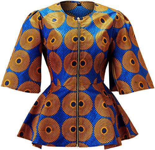 HongyuAmy Women African Print Coat Ankara Long Sleeve Short Casual Jacket (Small, Color A)