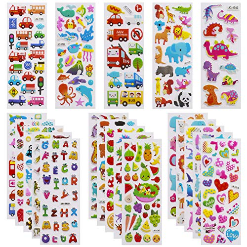 3D Stickers for Kids Toddlers Vivid Puffy Kids Stickers 24 Diffrent Sheets over 550, Coloured 3D Stickers for Boys Girls Teachers as Reward,, Craft Scrapbooking