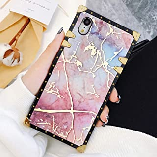 Square Case Compatible iPhone XR Modern Marble Luxury Elegant Soft TPU Shockproof Protective Metal Decoration Corner Back Cover Case iPhone XR Case 6.1 Inch