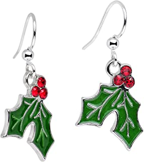 Handcrafted Silver Plated Green Holiday Holly Dangle Earrings Created with Swarovski Crystals 1