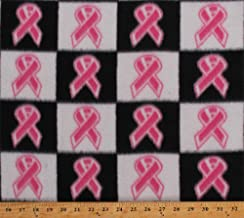 Fleece Pink Ribbons Breast Cancer Awareness Ribbons on Black and White Checkers Squares Fleece Fabric Print by The Yard (5935A-7B-check)