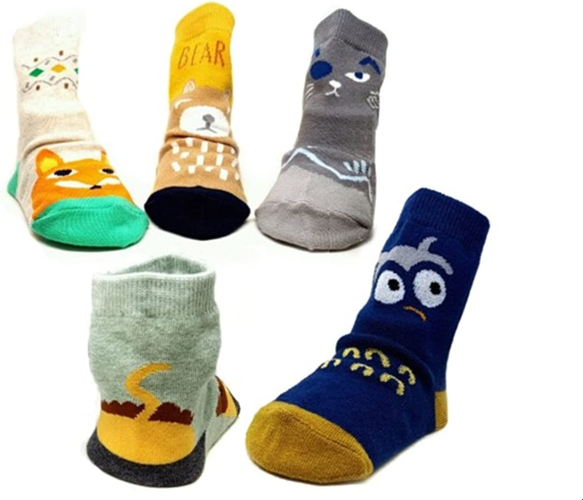 Baby Socks, Anti Slip, Animal Pictures, 5-Pack set for 1-3 Year Baby