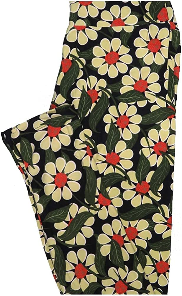 Lularoe One Size OS Black Green Yellow Orange Daisy Floral Buttery Soft Leggings - OS fits Adults 2-10