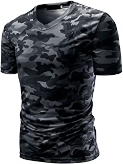 T-Shirt Top Men's Camouflage Print V Neck Pullover Short Tees Blouse