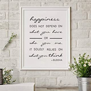 Canvas Painting Decorative Paintings Happiness Relies on What You Think Quote Canvas Art Poster Quote Art Canvas Print Hom...