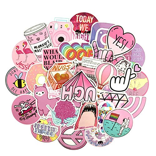 53PCS Cartoon Pink Graffiti PVC Waterproof Girl Sticker Toy For Laptop Moto Skateboard Luggage Guitar Handbag DIY Toy Stickers