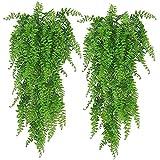 Plantas decorativas al aire libre 2 Paquete de plantas colgantes artificiales Falsas de hojas de hiedra decoración de pared para exteriores al aire libre, vegetación decoración para el hogar Faux vid