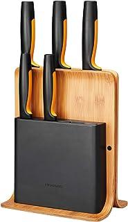 Fiskars Bambus Design-Messerblock mit 5 Messern, Functional Form, Inklusive Gemüsemesser, Tomatenmesser, Santoku Kochmesser, Kochmesser und Brotmesser, Bambus/Kunststoff, 1057552