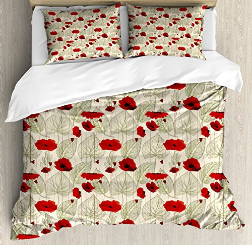 Ambesonne Poppy Duvet Cover Set, Sketchy Tree Leaves with Rural Floral Growth Botany Nature Inspired Art, Decorative 3 Piece Bedding Set with 2 Pillow Shams, Queen Size, Fern Green