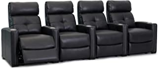 Octane Seating Cloud XS850 Home Theater Chairs - Black Top Grain Leather - Manual Recline - Row 4 Seats - Space Saving Design