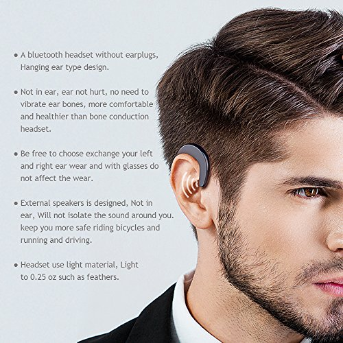 YOERM YR-T10 Series No Ear Plug Bluetooth Earphone, Ear Hook Bluetooth Headphones, Non in-Ear Earbuds(Silver Single Ear)