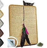 Valkyra - Tapis Griffoir pour Chats Auto-adhésif en sisal - Meubles Horizontal et Verticale - Jouet en Plumes et Herbe à Chat (30 x 40 cm, Nature)