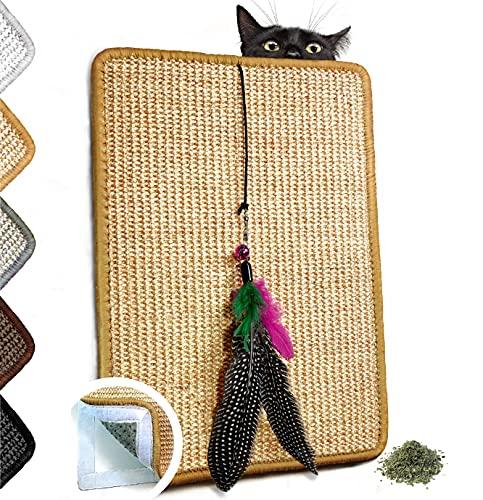 Valkyra - Rascador para Gatos Autoadhesivo, Alfombrilla de sisal para Mueble horizontales y Verticales, Juego de Plumas y Hierba Gata (30 x 40 cm, Natural)