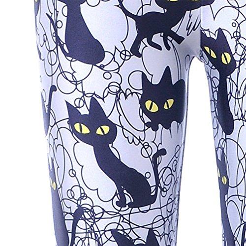 Tamskyt Women's Full Length Yoga Leggings Fitness Running Pilates Tights Gym Skinny Pants 8/10 / 12 Stretchy (Black Cat)