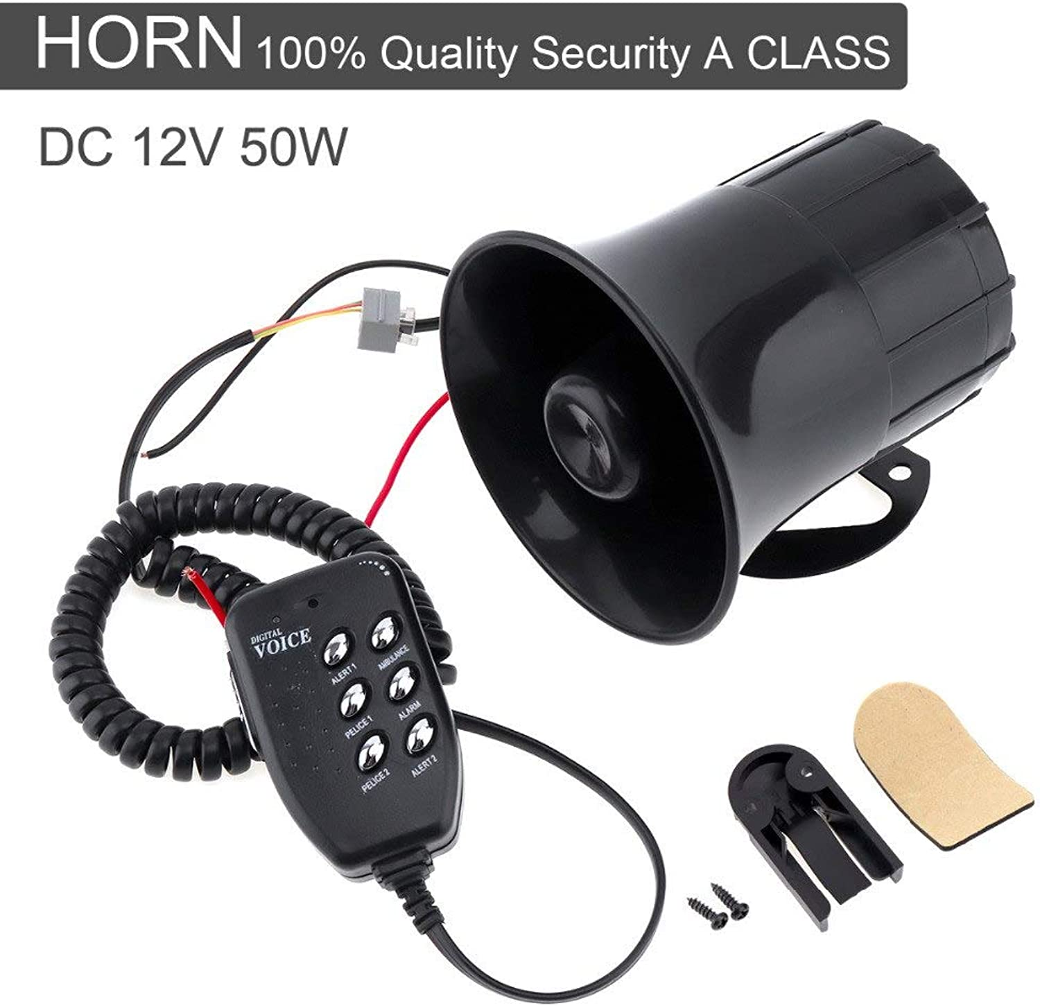 Star-ShopincUniversal 12V 50W 105db Loud Car Horn Siren with 6 Sound Tone for Auto Motorcycles Van Truck