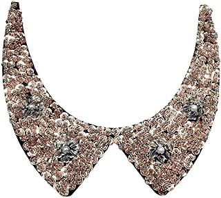 Stylish Detachable Blouse False Collar Sequins Beads Flowers Fake Collar Choker Peter Pan Necklace
