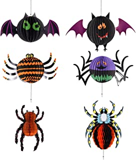 ATROPOS 6 Pcs Halloween Hanging Decorations Paper Lantern,Hanging 3D Bat Spiders Folding Honeycomb Lanterns for Halloween Party Decorations Props (Black)