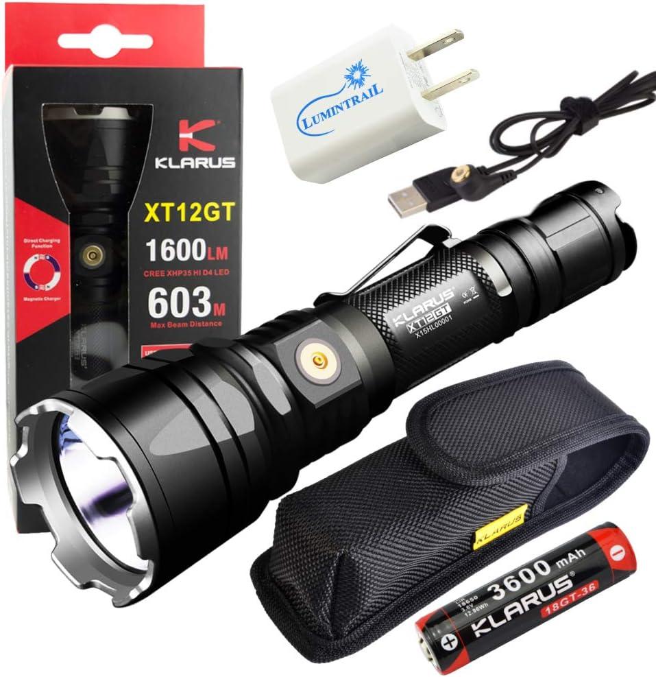 Klarus XT12GT Rechargeable Flashlight 1600 Bundl Lumen Discount mail order LED Seasonal Wrap Introduction Light