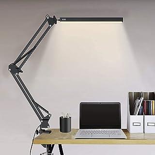 Lampe De Bureau Led Puissante Flexible Secteur Avec Pince,Elekin Lampe De Bureau Led Rechargeable Par USB Dimmable Noire I...