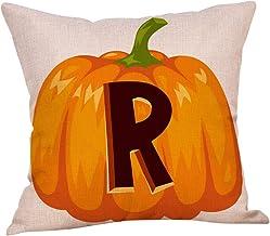 Weilov Automne Halloween Alphabet Citrouille taie d'oreiller Taille Jeter Housse de Coussin café Boutique de Voiture canap...