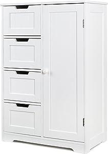 HOMFA Campagne Meubles de Rangement Commode Armoire Blanche pour Chambre Salle de Bain (Blanc 4 Tiroirs 1 Porte)
