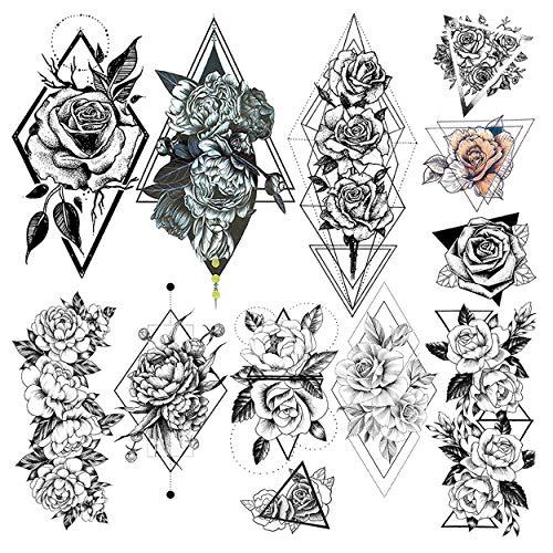 LAROI 9 Blätter Charme geometrische Blume Temporäre Tattoos Aufkleber Für Frauen Erwachsene Mädchen Body Art Pfingstrose Skizze Zeichnung Dreieck Rose Waschbar Schwarz Gefälschter Tattoo Flora Tatoos