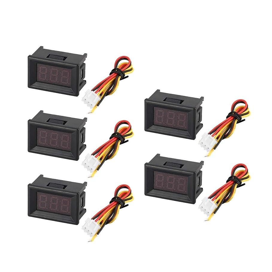 啓示離婚合併5PCS 0-100V 0.36in 3線式LEDデジタル電圧計電圧計カーボルトテスター
