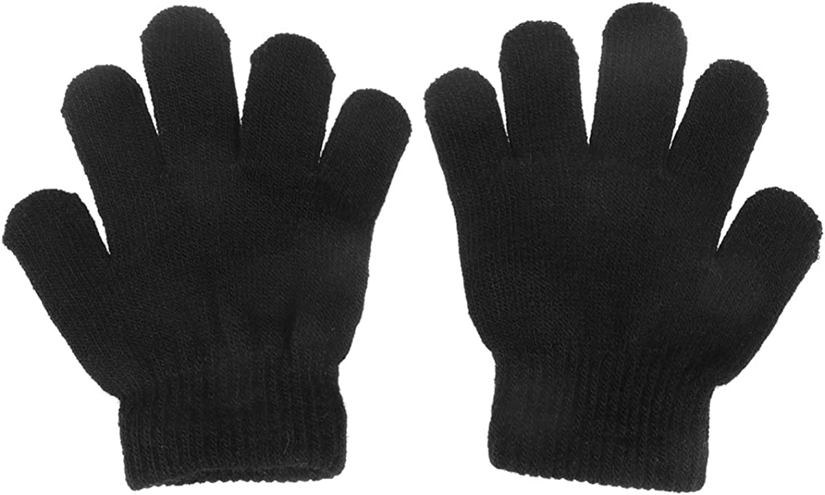 Abaodam Knitted Gloves For Kids Full Finger Stretch Winter Warm Gloves Mittens For Children Boys Girls Student 12Pair