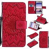 pinlu® Portafoglio Custodia in PU Pelle Protettiva per Huawei Ascend P7 Flip Cover con Funzione di Appoggio Sollievo del Girasole (Rosso)