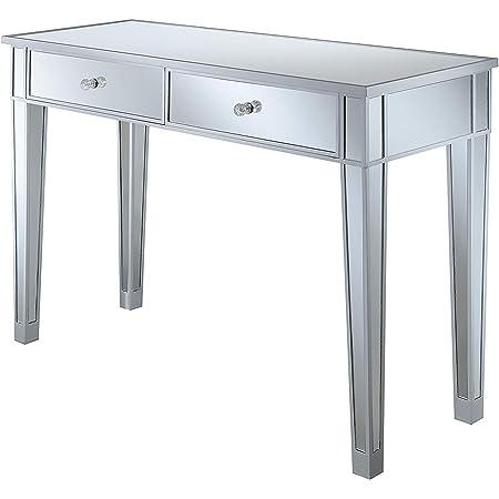 Convenience Concepts Gold Coast Mirrored Desk, Silver / Mirror