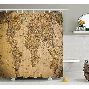 Ambesonne Wanderlust Decor Collection, Anthique Old World Map in Retro Color with Vintage Nostalgic Design Art Print Deco, Polyester Fabric Bathroom Shower Curtain, 75 Inches Long, Cream