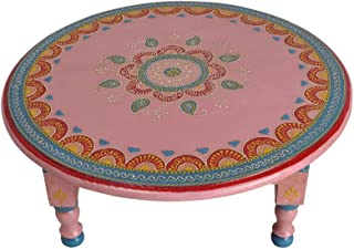 Lalhaveli Indian Handmade Designer Round Wooden Pink End Table Stool 16 x 16 x 6 Inch