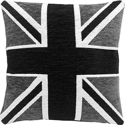 Filled Thick Heavyweight Chenille Black White Silver Union Jack 18' CUSHION