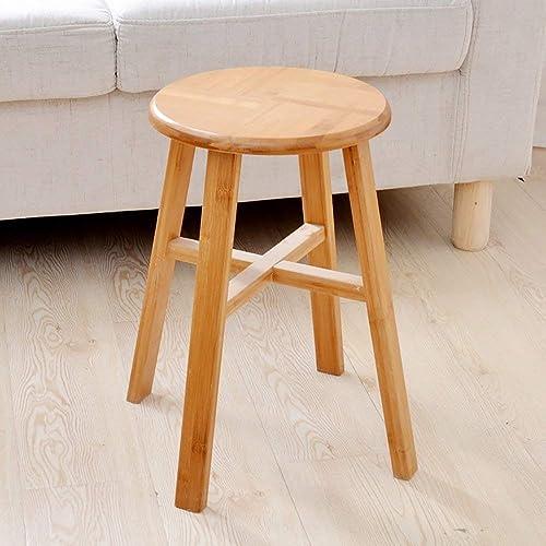 DEED  ern Schuh Bank, Massivholz Hocker Bambus Quadratische Runde Bank Haushalt Wohnzimmer Restaurant Tisch,Runden