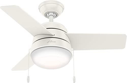 Hunter Fan Company 59301 Aker Indoor with LED Light with Pull Chain Control, 36 Inch, White