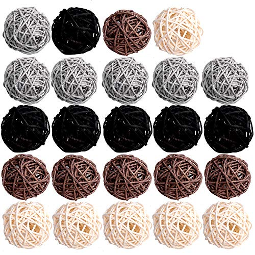 Byher 24-Pack Wicker Rattan Balls - Decorative Balls for Bowls, Vase Filler, Coffee Table Decor, Wedding Party Decoration