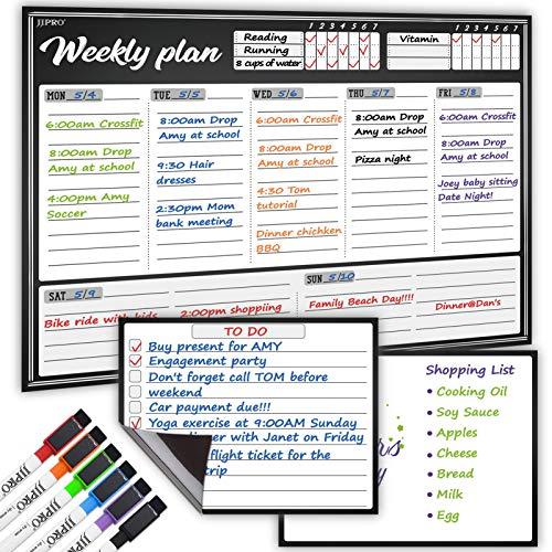 Pizarra blanca magnética grande de borrado en seco planificador semanal para nevera, un gran calendario semanal y dos pizarras de...