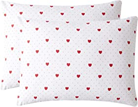 Wake In Cloud - Pack of 2 Pillow Cases, 100% Cotton Pillowcases, Red Love Hearts Dots Pattern Printed on White (King Size, 20x36 Inches)