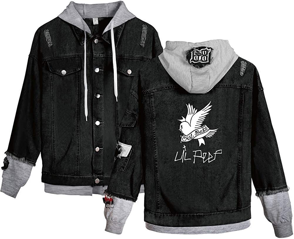 CoSter Li Peep Jeans Denim Jacket Cry Baby Printed Young Fashion Sport Hip Hop Hoodie