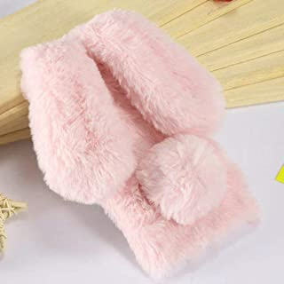 Plush Cover for iPhone 5 5S SE Case LAPOPNUT Cute Bunny Ears Case Luxury Winter Soft Warm Cover Fluffy Furry Rabbit Shockproof Back Bumper with Chic Bling Crystal Diamond-Pink