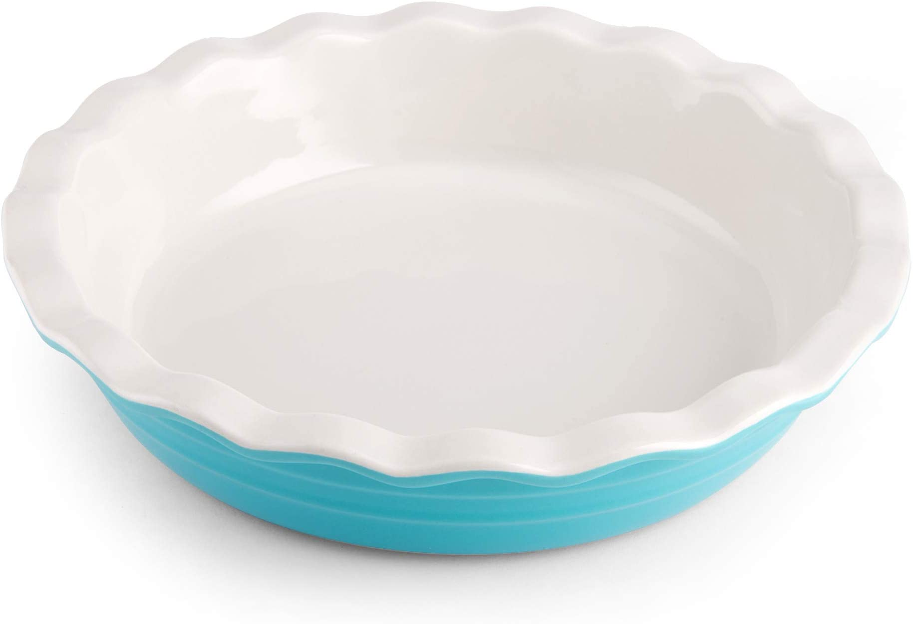 Farberware Baker's Advantage Ceramic Pie Dish, 10-Inch, Teal