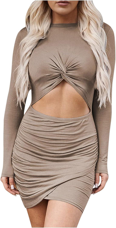 Women Sexy Wrap Dress Long Sleeve Crewneck Hollow Out Curved Hem Short Mini Dresses Night Out Clubwear Vestidos