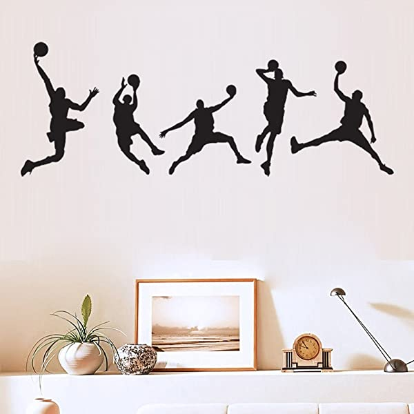 Ufengke Home Basketball Player Silhouette Wall Art Stickers 5 Piece Of Different Basketball Poses Decorative Removable DIY Vinyl Wall Decals Living Room Bedroom Boy S Room Mural