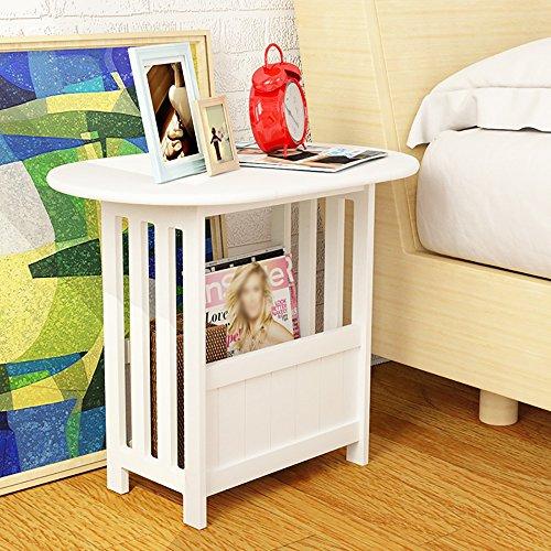 Table latérale d'extrémité de Tableau d'extrémité pliante d'armoire latérale Support / mini simple d'espace de stockage de salle de séjour blanche ( Couleur : Varnish )