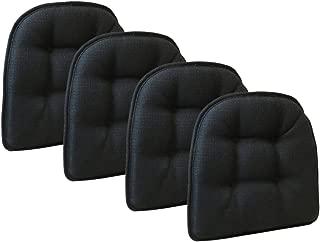 Klear Vu Omega Gripper Tufted Furniture Safe Non-Slip Dining Chair Cushion, Midnight Black, 4-Pack