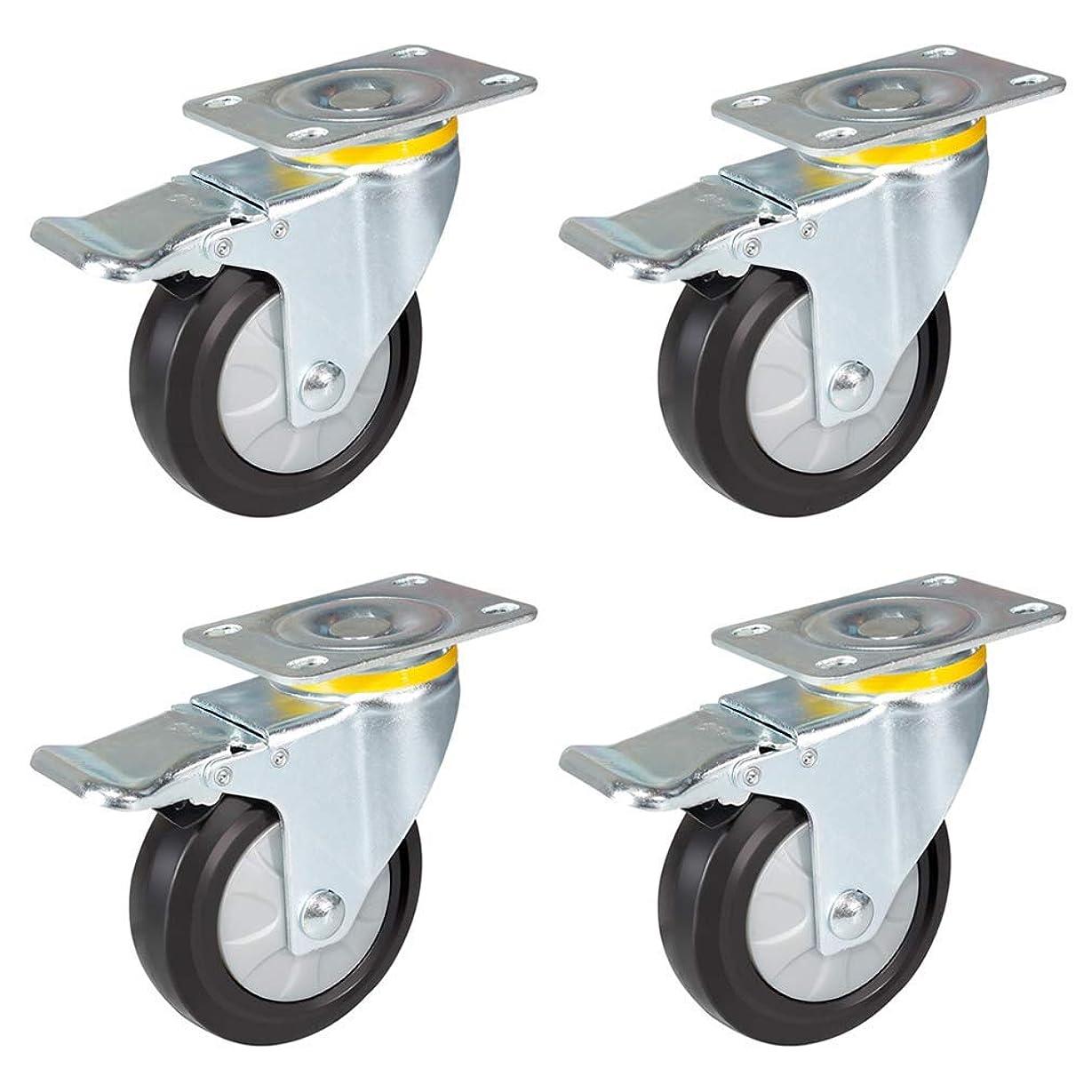 ドキュメンタリー大使分析的なZZZGY ブレーキ付きキャスターホイール4個、3/4/5インチキャスター、ヘビーデューティ、ゴム旋回キャスター、トロリー家具キャスター、390kgの積載量のセット