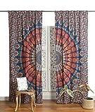 Popular Handicrafts Indian Hippie Bohemian Beautiful Peacock Mandala Curtain Panels Blue Multi