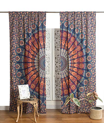Popular Handicrafts Indian Hippie Bohemian Beautiful Peacock Mandala Curtain Panels Blue Multi