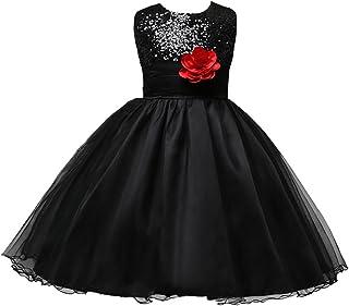 bd9fd7cfda421 LSERVER Enfant Fille Paillette Fête Fleur Robe de Cérémonie Mariage Bal  Banquet Tulle