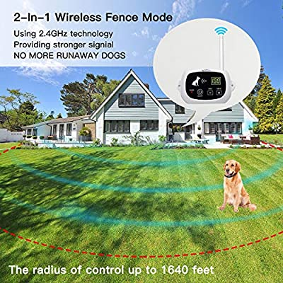 NACRL Wireless Dog Fence, Pet Containment System, Up to 1640 Feet Control Range, Waterproof, Adjustable & Rechargeable 2-in-1 Set, Outdoor Electric Fence for Dogs